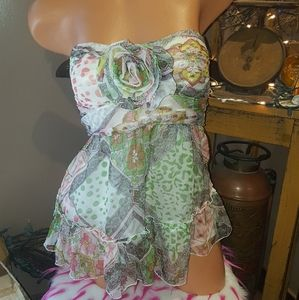 Bebe silk floral patterned tube top M EUC